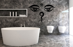 Muursticker badkamer asian eyes