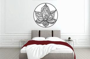 Muursticker slaapkamer lotus in cirkel
