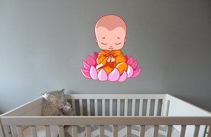 Muursticker babykamer biddende baby boeddha kleur
