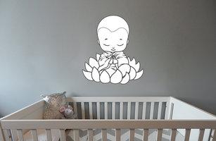 Muursticker babykamer biddende baby boeddha zwart wit