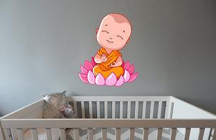 Muursticker babykamer baby boeddha rustgevend kleur