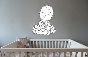 Muursticker babykamer baby boeddha rustgevend zwart wit