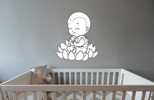 Muursticker babykamer baby boeddha zen zwart wit