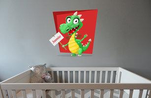 Muursticker babykamer draakje (met naam rood)