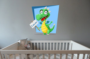 Muursticker babykamer draakje (met naam blauw)