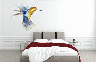 Muursticker slaapkamer kolibrie abstract