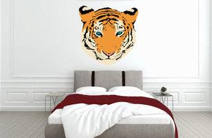 Muursticker slaapkamer tijger hoofd
