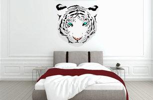 Muursticker slaapkamer tijger hoofd wit