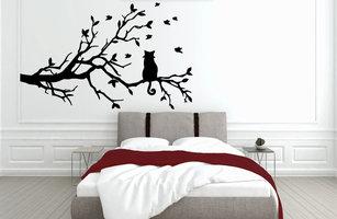 Muursticker slaapkamer kat op tak