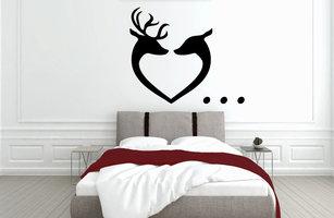 Muursticker slaapkamer hart met gewei