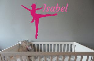 Muursticker babykamer ballerina (met naam)