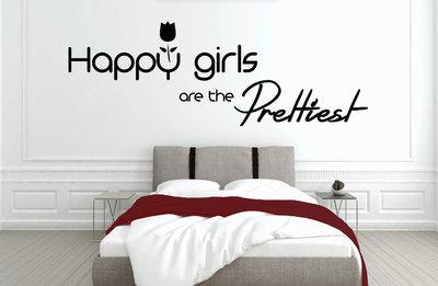 Muursticker slaapkamer met tekst Happy girls are the prettiest ...